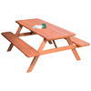 8 Ft. Traditional Wooden Picnic Table with 2 Attached Benches
