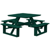 "44"" Poly Recycled Plastic Square Walk-In Picnic Table"