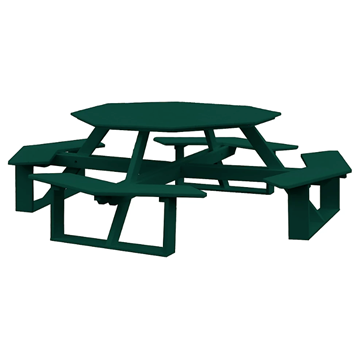 "54"" Poly Recycled Plastic Octagon Walk-In Picnic Table"