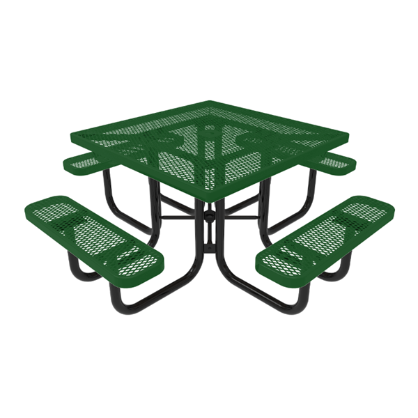 """RHINO 46"""" Square Thermoplastic Polyolefin Coated Picnic Table - Quick Ship - Expanded"""