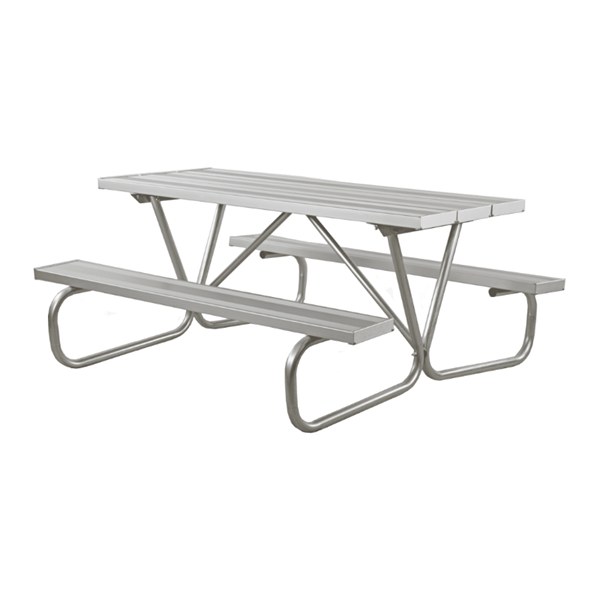 6 Ft. Aluminum Picnic Table with Bolted Galvanized Steel Frame