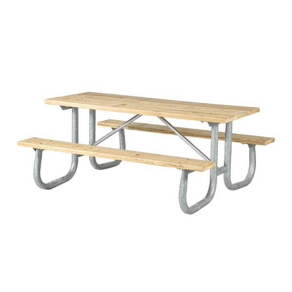 6 Ft. Wooden Picnic Table with Heavy Duty Welded Galvanized Steel Frame