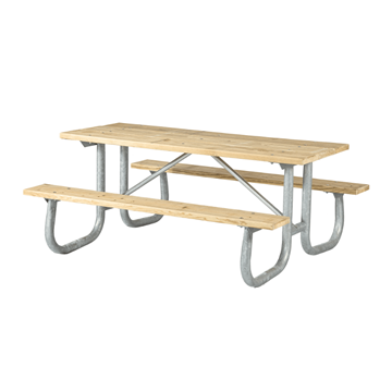 12 Ft. Heavy Duty Wooden Picnic Table with Welded Galvanized Steel Frame