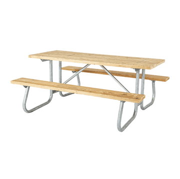 12 Ft. Wooden Picnic Table with Welded Galvanized Steel Frame