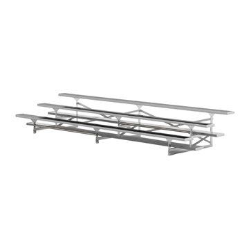 15 ft. 3 Row Portable Aluminum Bleacher without Guardrails and Double Footboards