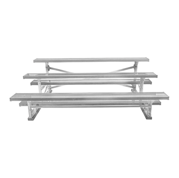 15 ft. 3 Row Tip and Roll Aluminum Bleacher without Guardrails and Double Footboards