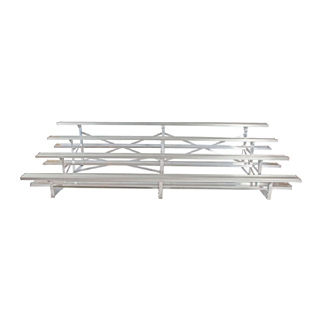 15 ft. 4 Row Portable Aluminum Bleacher without Guardrails and Double Footboards
