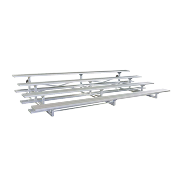 15 ft. 4 Row Tip and Roll Aluminum Bleacher without Guardrails and Double Footboards