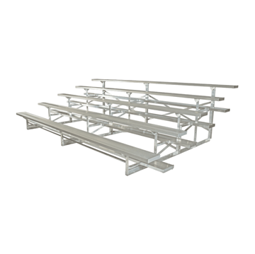 15 ft. 5 Row Portable Aluminum Bleacher without Guardrails and Double Footboards