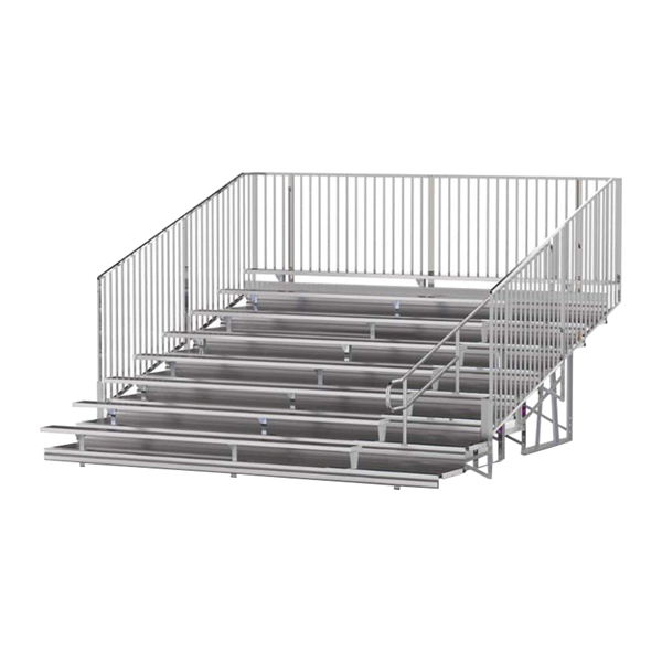 15 ft. 8 Row Aluminum Bleacher with Guardrails and Double Footboards