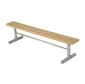 15 Ft. Portable Wooden Backless Sports Bench with Galvanized Steel Frame