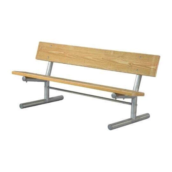 15 Ft. Portable Wooden Park Bench with Galvanized Steel Frame