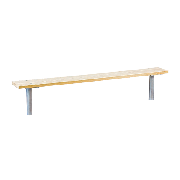 15 Ft. Stationary Wooden Backless Sports Bench with Galvanized Steel Frame