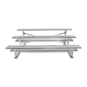 21 ft. 3 Row Tip and Roll Aluminum Bleacher without Guardrails and Double Footboards