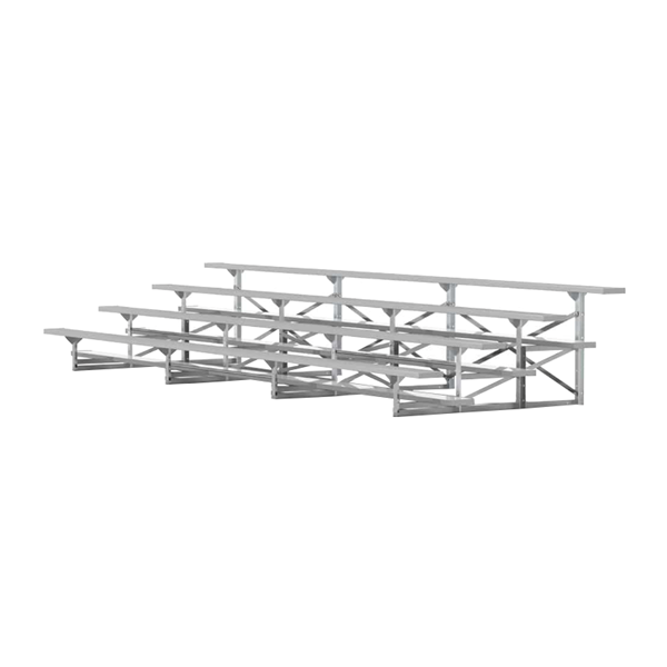 21 ft. 4 Row Portable Aluminum Bleacher without Guardrails and Double Footboards