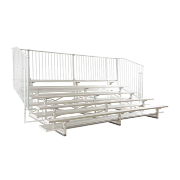 21 ft. 5 Row Aluminum Bleacher with Guardrails and Double Footboards