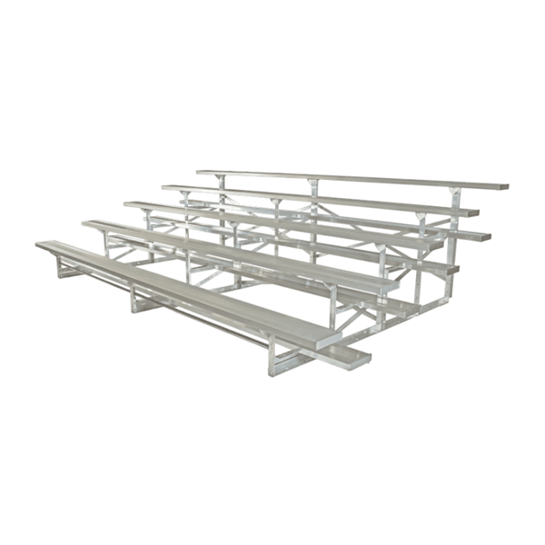 21 ft. 5 Row Tip and Roll Aluminum Bleacher without Guardrails and Double Footboards