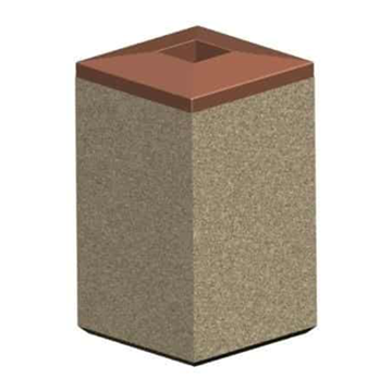 22 Gallon Concrete Square Trash Receptacle with Pitch In Lid