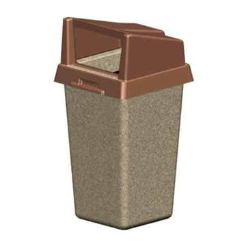 22 Gallon Concrete Square Trash Receptacle with Plastic Rigid Bonnet Lid