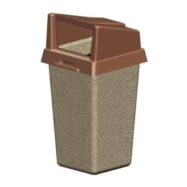 22 Gallon Concrete Square Trash Receptacle with Plastic Rigid Bonnet Lid