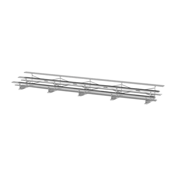 27 ft. 3 Row Portable Aluminum Bleacher without Guardrails and Double Footboards