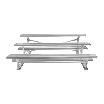27 ft. 3 Row Tip and Roll Aluminum Bleacher without Guardrails and Double Footboards
