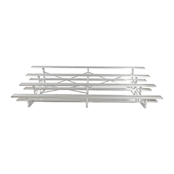 27 ft. 4 Row Portable Aluminum Bleacher without Guardrails and Double Footboards