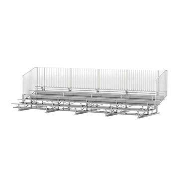 27 ft. 5 Row Aluminum Bleacher with Guardrails and Double Footboards