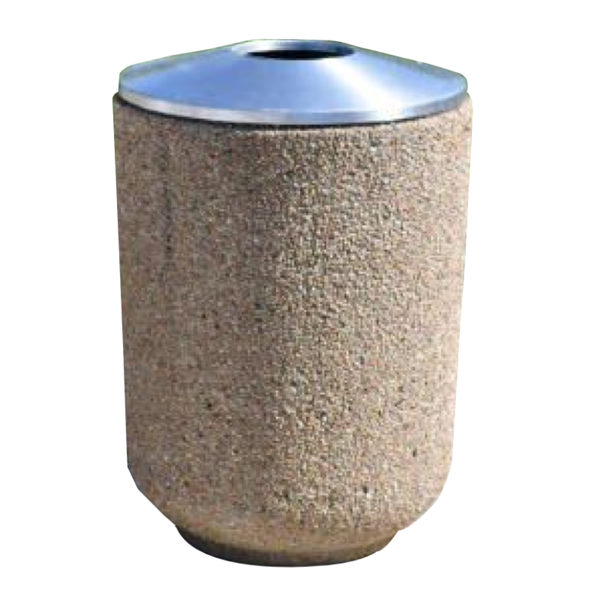 30 Gallon Concrete Round Trash Receptacle with Aluminum Pitch In Lid