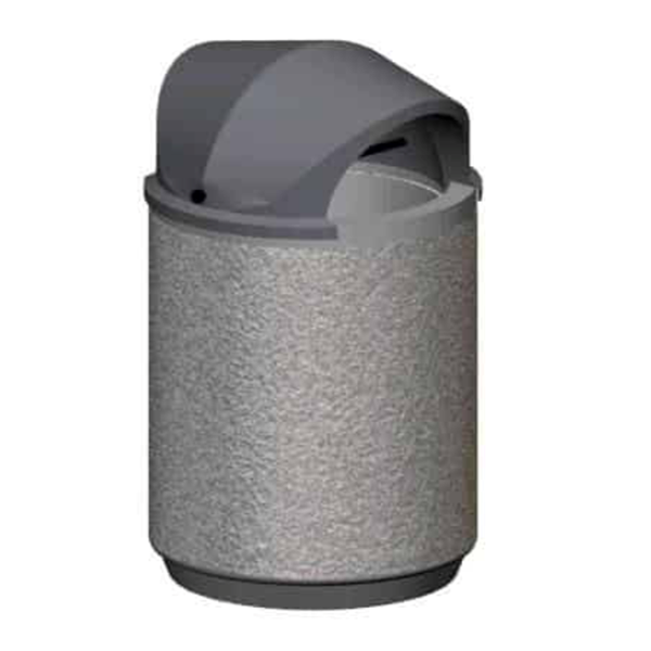 30 Gallon Concrete Round Trash Receptacle with Two Way Lid