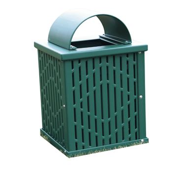 32 Gallon Square Laser Cut Plastisol Steel Trash Receptacle