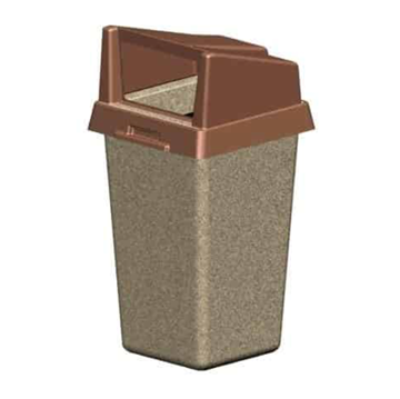 40 Gallon Concrete Square Trash Receptacle with Plastic Rigid Bonnet Lid