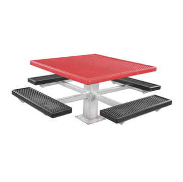 "46"" Square Plastisol Coated Expanded Metal Picnic Table"