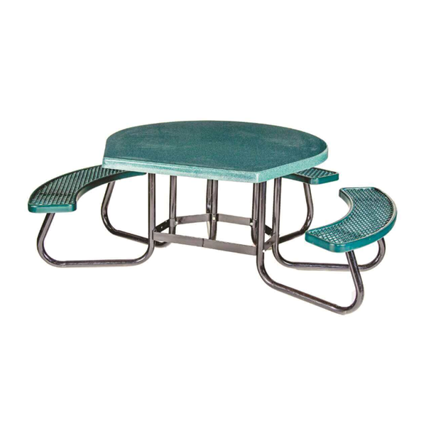 "48"" Round ADA Picnic Table with Fiberglass Top and Plastisol Expanded Metal Seats"