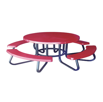 "48"" Round Children's Fiberglass Picnic Table with 1-5/8"" O.D. Tube Steel Frame"