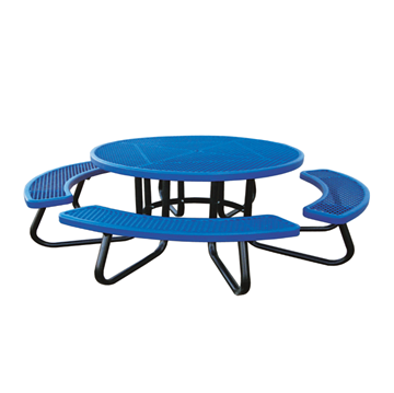 "48"" Round Children's Plastisol Coated Expanded Metal Picnic Table with Galvanized Frame"
