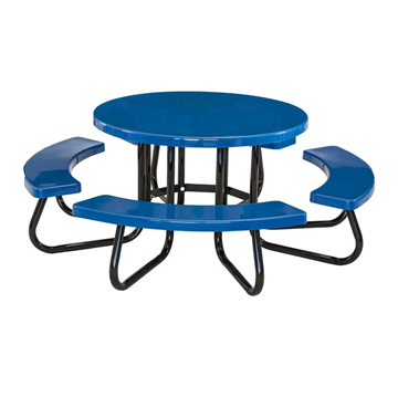 "48"" Round Fiberglass Picnic Table with 1 5/8"" O.D. Tube Steel Frame"