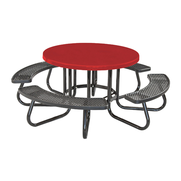 """48"""" Round Picnic Table with Fiberglass Top and Plastisol Expanded Metal Seats"""