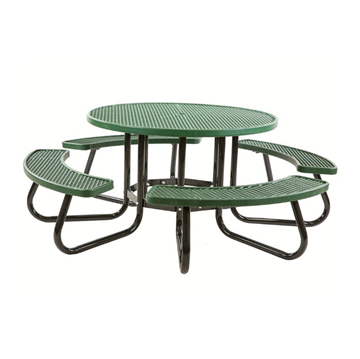 "48"" Round Plastisol Expanded Metal Picnic Table"