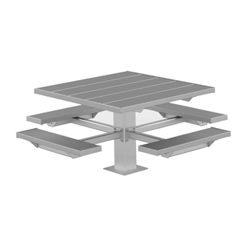 "48"" Square Aluminum Picnic Table with 6"" Square Pedestal Steel Frame"