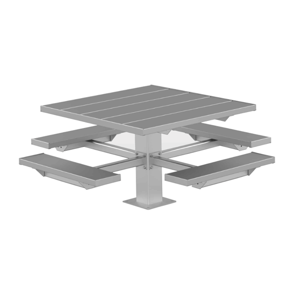 """48"""" Square Aluminum Picnic Table with 6"""" Square Pedestal Steel Frame"""
