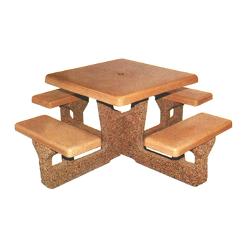 "48"" Square Concrete Picnic Table with 4 Attached Seats"