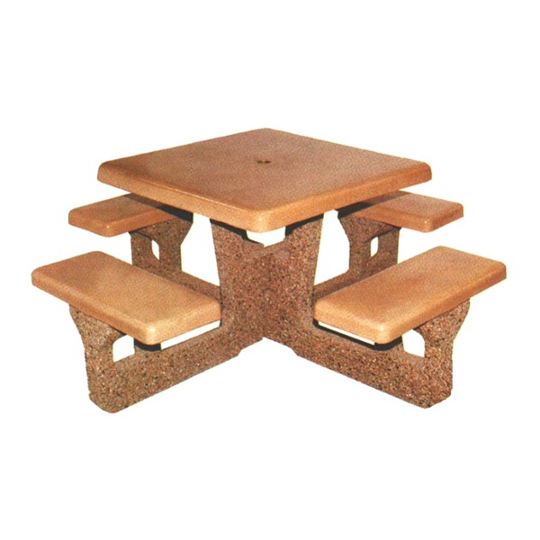 """48"""" Square Concrete Picnic Table with 4 Attached Seats"""