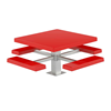 "48"" Square Fiberglass Picnic Table with 6"" Square Pedestal Steel Frame"