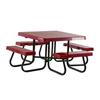 "48"" Square Fiberglass Picnic Table with Galvanized Pedestal Frame"