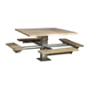 """48"""" Square Southern Yellow Pine Picnic Table with 6"""" Square Pedestal Steel Frame"""