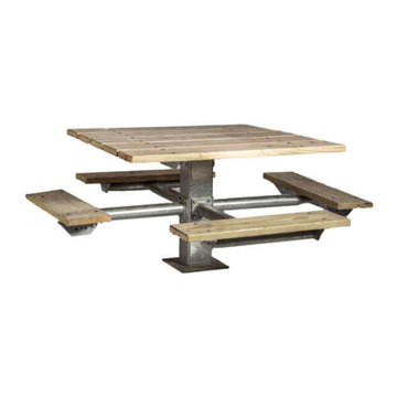 "48"" Square Southern Yellow Pine Picnic Table with 6"" Square Pedestal Steel Frame"
