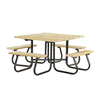 """48"""" Square Wooden Picnic Table with 1 5/8"""" O.D. Tube Steel Frame"""
