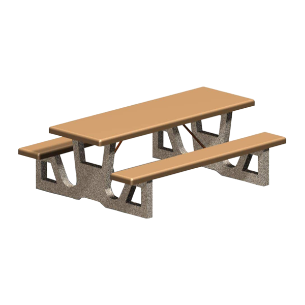 5 Ft. Rectangular Concrete Picnic Table with 2 Attached Seats