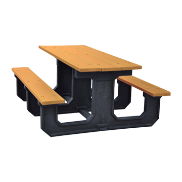 """6 Ft. Recycled Plastic """"Walk Thru"""" Style Picnic Table"""